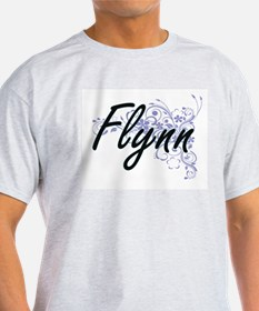 Flynn surname artistic design with Flowers T-Shirt