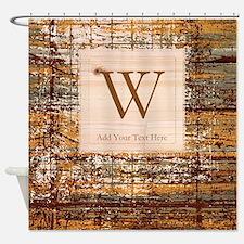Elegant Monogram and Stripes Shower Curtain