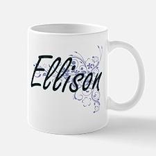 Ellison surname artistic design with Flowers Mugs