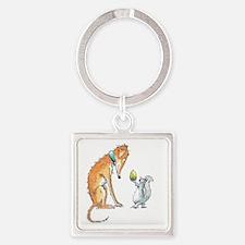 Cute Grey hound Square Keychain