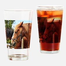 Two farm draft horses Drinking Glass