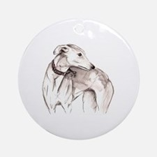 Cute Whippets Round Ornament