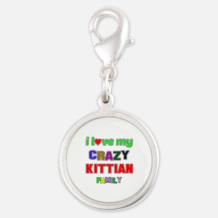 I love my crazy Kittian family Silver Round Charm