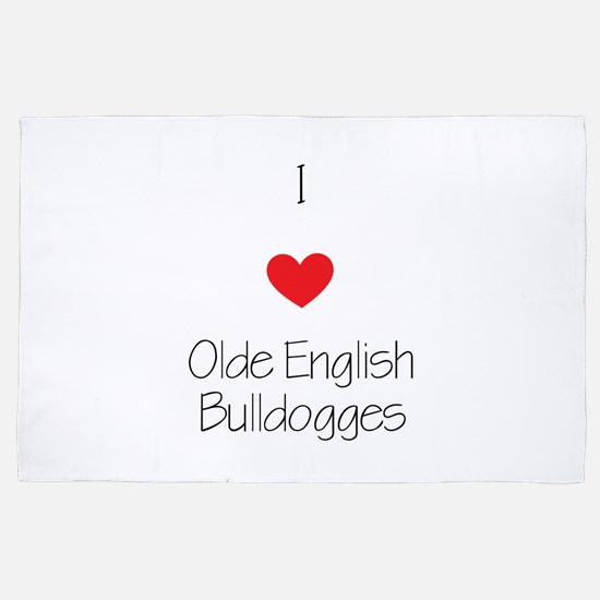 I Love Olde English Bulldogges 4' X 6' Rug
