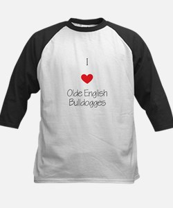 I love Olde English Bulldogge Kids Baseball Jersey