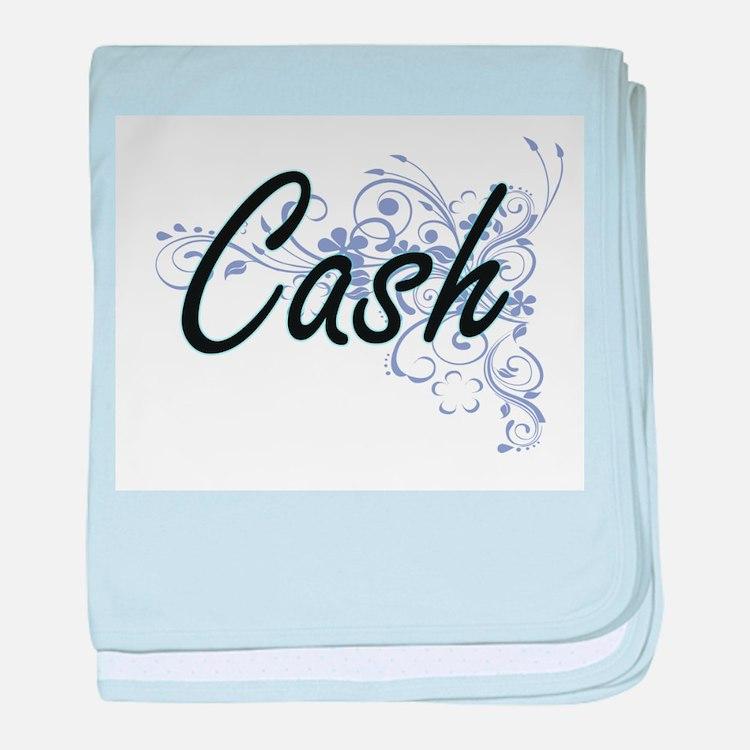 Cash surname artistic design with Flo baby blanket