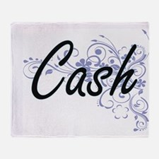 Cash surname artistic design with Fl Throw Blanket