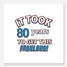 "74 Years Birthday Design Square Car Magnet 3"" x 3"""