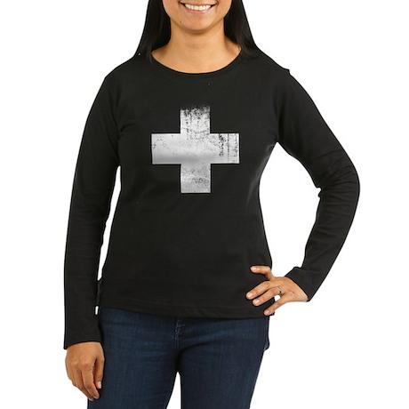 Red Cross Women's Long Sleeve Dark T-Shirt