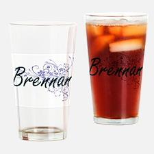Brennan surname artistic design wit Drinking Glass