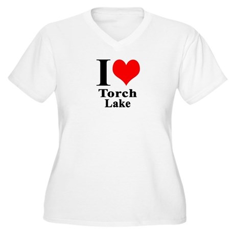 I heart Torch Lake Women's Plus Size V-Neck T-Shir