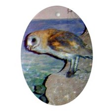 barn owl 2 Oval Ornament