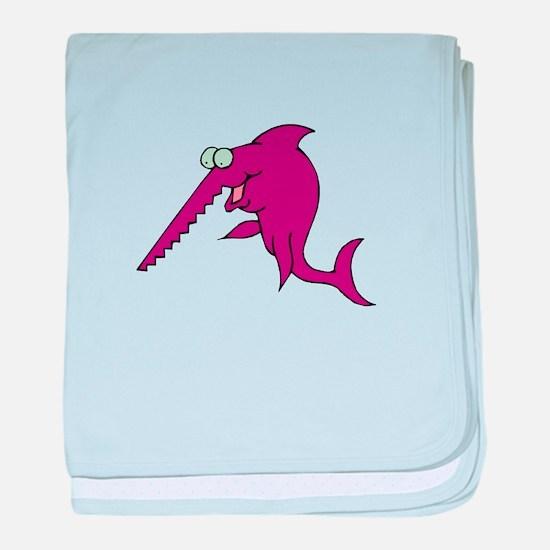Sawfish pink baby blanket