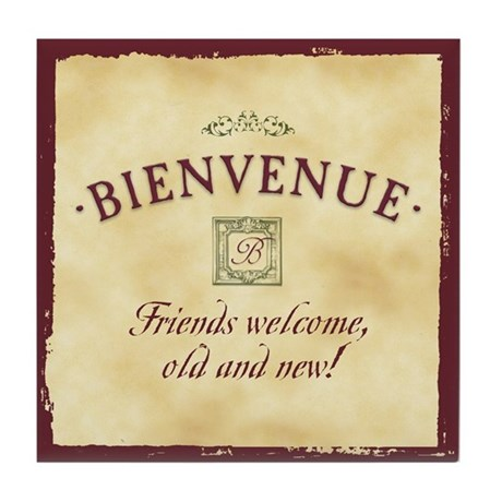 Bienvenue -- A French Welcome Tile Coaster, Wine