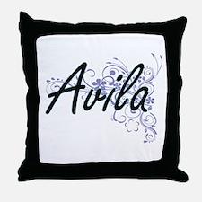 Avila surname artistic design with Fl Throw Pillow