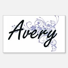 Avery surname artistic design with Flowers Decal
