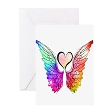 Angel Wings Heart Greeting Cards