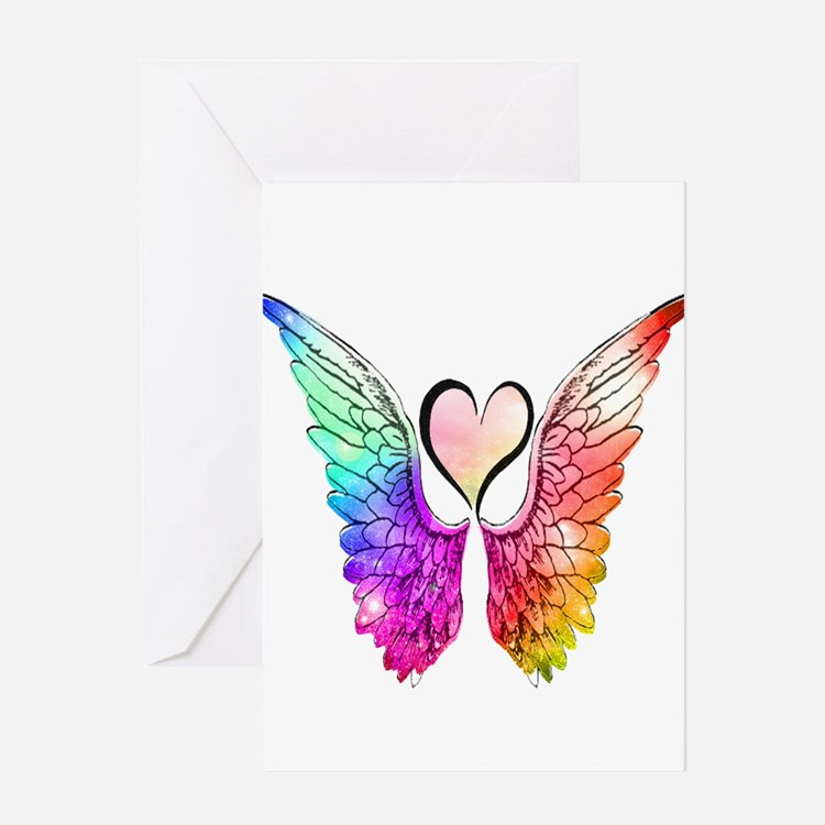 Angel Wings Heart Greeting Cards
