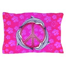 Dolphin Peace Pink Flowers Pillow Case