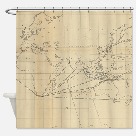 Vintage Map of The World (1848) 2 Shower Curtain