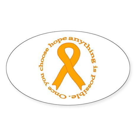 Orange Hope Oval Sticker