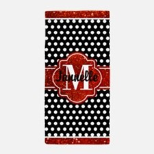 Red and Black Polka Dots Monogram Beach Towel