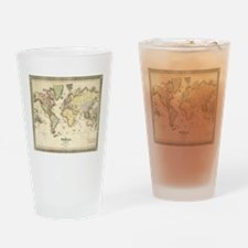 Vintage Map of The World (1840) Drinking Glass