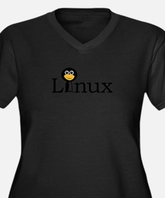 Linux text with funny tux face Plus Size T-Shirt