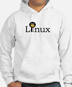 Linux text with funny tux face Hoodie