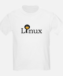 Linux text with funny tux face T-Shirt