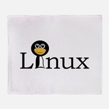 Linux text with funny tux face Throw Blanket