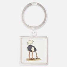 Ostrich Head in Sand tail up Keychains