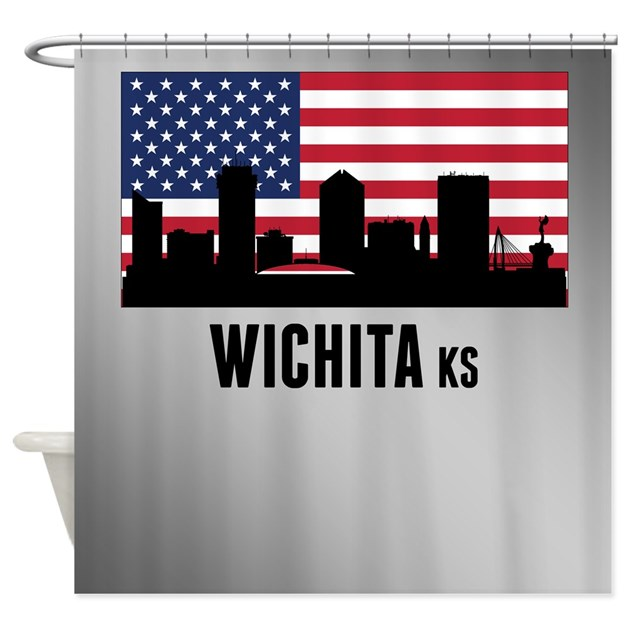 Wichita ks american flag shower curtain by cityskylines for Craft stores wichita ks