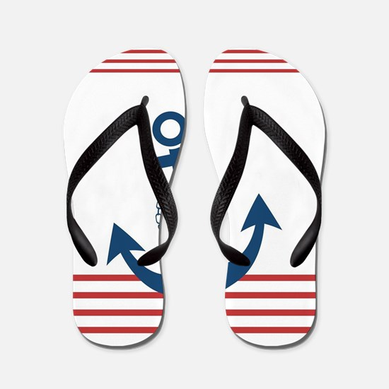 Nautical Striped Design with Anchor Flip Flops