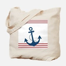 Nautical Striped Design with Anchor Tote Bag