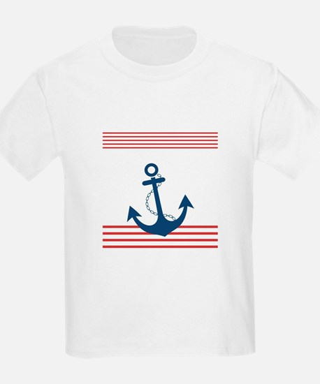 Nautical Striped Design with Anchor T-Shirt