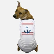 Nautical Striped Design with Anchor Dog T-Shirt
