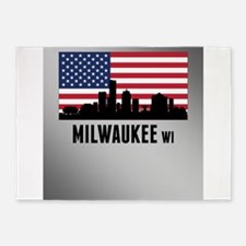 Milwaukee WI American Flag 5'x7'Area Rug