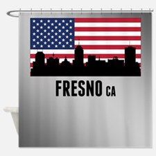 Fresno CA American Flag Shower Curtain