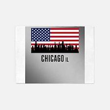 Chicago IL American Flag 5'x7'Area Rug