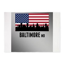 Baltimore MD American Flag 5'x7'Area Rug