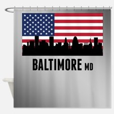 Baltimore MD American Flag Shower Curtain