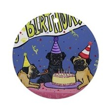 Happy Birthday Pugs Ornament (Round)