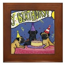 Happy Birthday Pugs Framed Tile