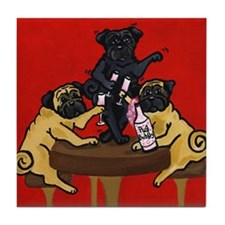 Party Pugs Tile Coaster