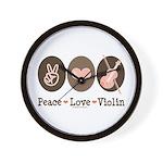 Peace Love Violin Wall Clock