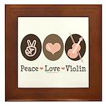 Peace Love Violin Framed Tile