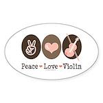 Peace Love Violin Oval Sticker