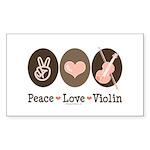Peace Love Violin Rectangle Sticker