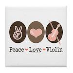 Peace Love Violin Tile Coaster